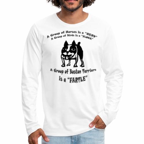 Boston Terrier Fartle - Gray - Men's Premium Long Sleeve T-Shirt