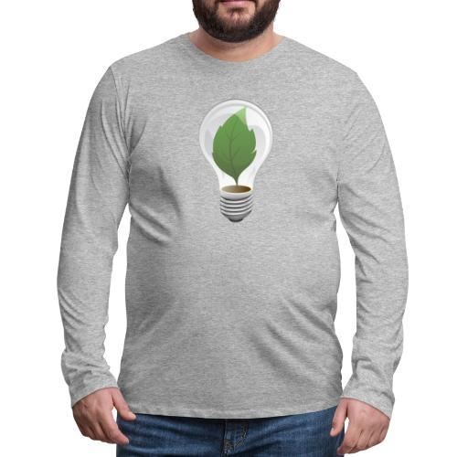 Clean Energy Green Leaf Illustration - Men's Premium Long Sleeve T-Shirt
