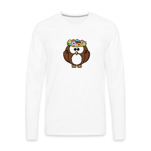Owl With Flowers On Head T-Shirt - Men's Premium Long Sleeve T-Shirt