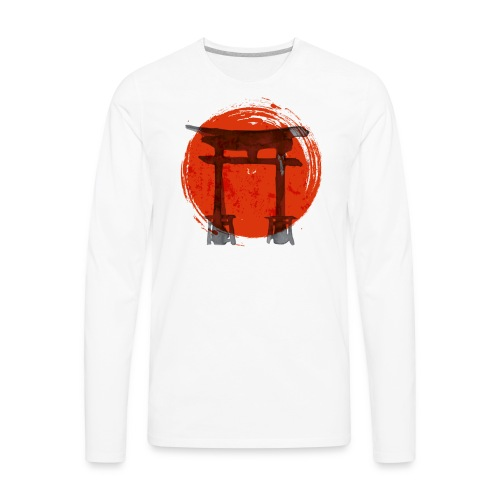 Premium Japanese Artistic Temple Watercolor Shirt - Men's Premium Long Sleeve T-Shirt