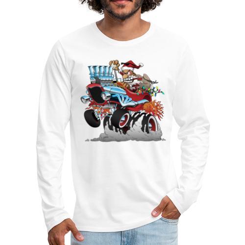 Hot Rod Santa Christmas Cartoon - Men's Premium Long Sleeve T-Shirt