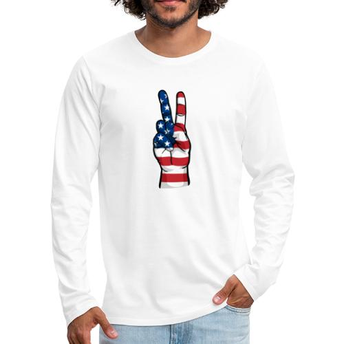hand peace sign USA T small - Men's Premium Long Sleeve T-Shirt