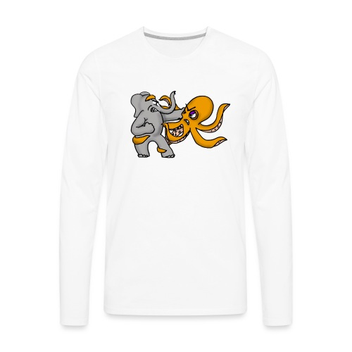 Elephant vs. Octopus Mug - Men's Premium Long Sleeve T-Shirt
