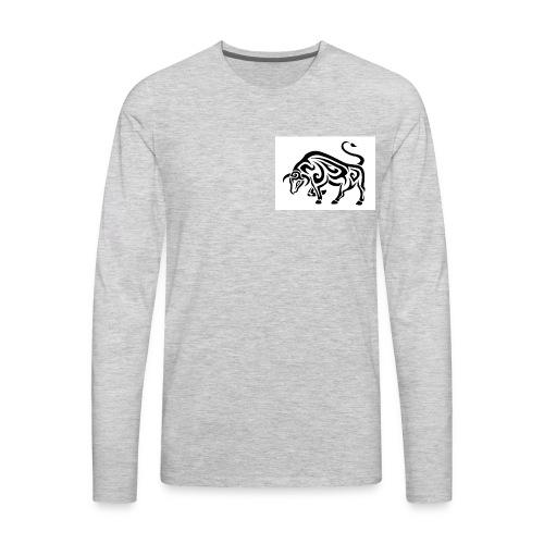 tribal cool running bull taurus tattoo design - Men's Premium Long Sleeve T-Shirt