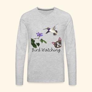 Funny bird watching hummingbird cat flower design - Men's Premium Long Sleeve T-Shirt