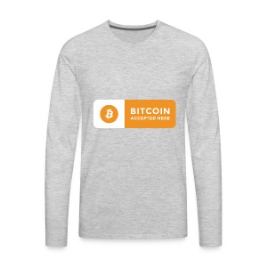 Bitcoin Accepted Here Logo Symbol Cryptocurrency - Men's Premium Long Sleeve T-Shirt