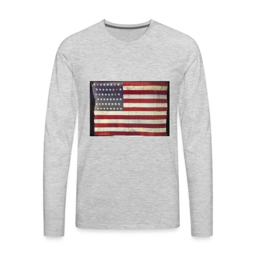 Distressed American Flag - Men's Premium Long Sleeve T-Shirt