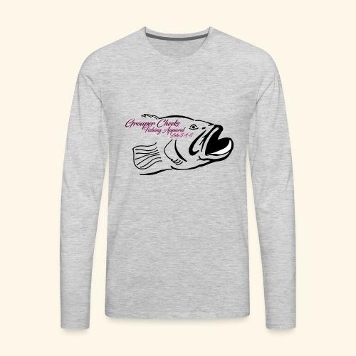 Grouper Cheeks Hand Drawn Logo Pink and Black - Men's Premium Long Sleeve T-Shirt