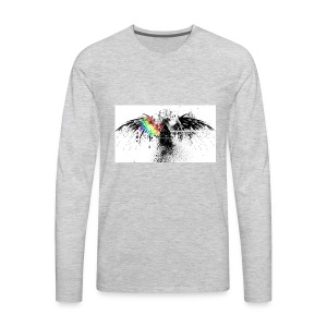dispersing prism on grunge eagle wide wallpaper 32 - Men's Premium Long Sleeve T-Shirt