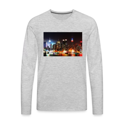 New York City Skyline at Night - Men's Premium Long Sleeve T-Shirt