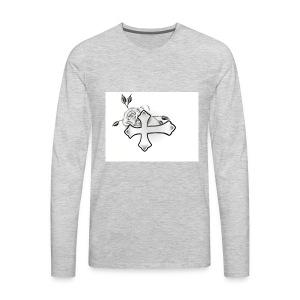Cross with rose - Men's Premium Long Sleeve T-Shirt