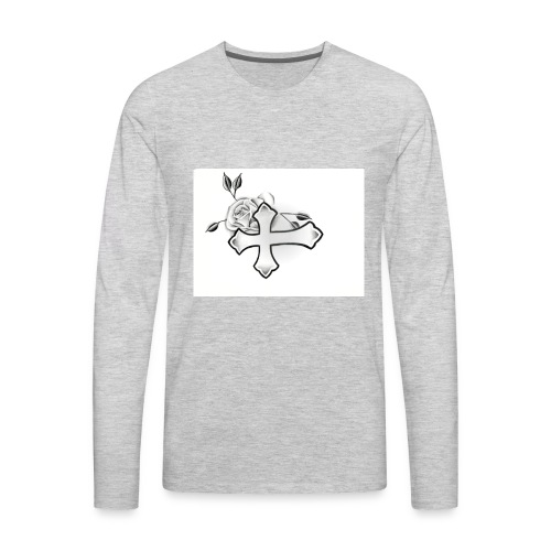 Cross with rose - Men's Premium Long Sleeve T-Shirt