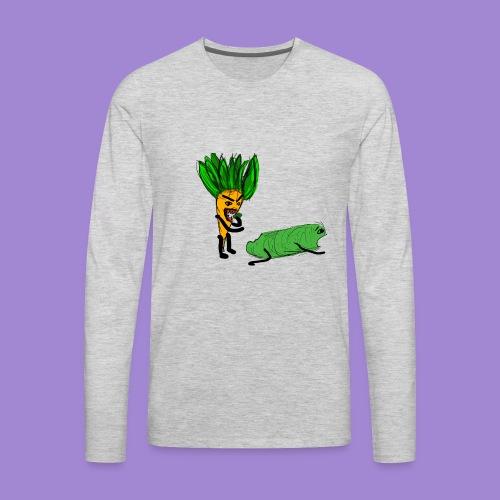 carrot eating a cucumber - Men's Premium Long Sleeve T-Shirt