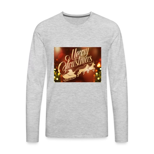 merry christmas 2015 carriage santa claus vector h - Men's Premium Long Sleeve T-Shirt