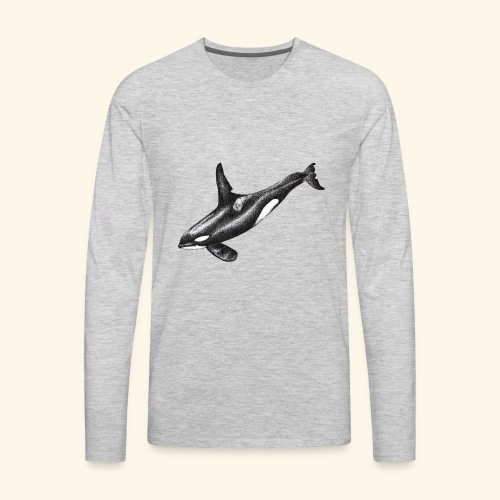 Orca killer whale ink drawing artwork - Men's Premium Long Sleeve T-Shirt