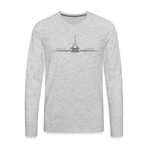 T 38 Gray Devil Cats On Wing - Men's Premium Long Sleeve T-Shirt