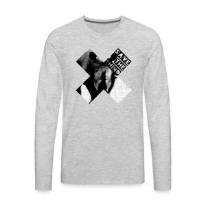 3D Save The Rhino (Black and White) - Men's Premium Long Sleeve T-Shirt