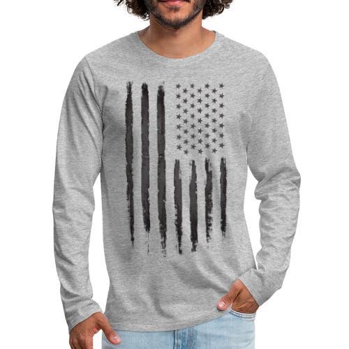 Black Grunge USA Flag - Men's Premium Long Sleeve T-Shirt