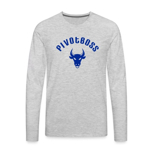 PivotBoss Curved Logo - Cobalt - Men's Premium Long Sleeve T-Shirt