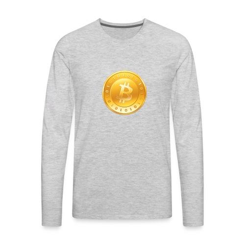 Bitcoin Coin Logo - Men's Premium Long Sleeve T-Shirt