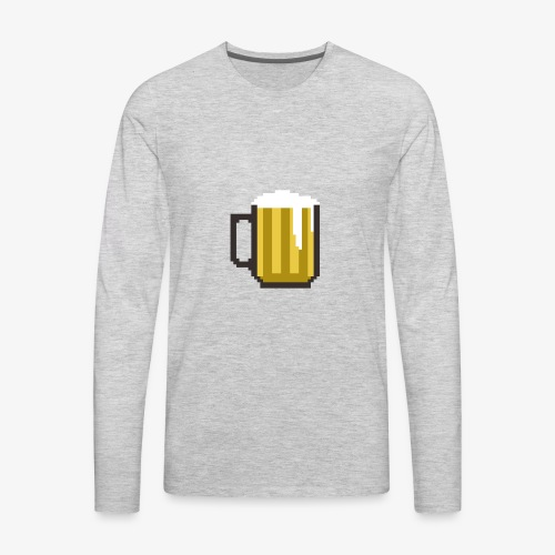 8 Bit Beer Mug Shirt - Men's Premium Long Sleeve T-Shirt