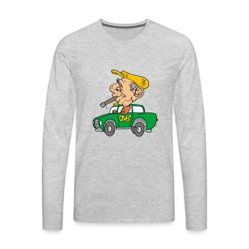 Old cab/Taxi driver enjoying Cigar - Men's Premium Long Sleeve T-Shirt