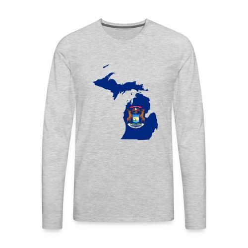 Michigan Flag Map - Men's Premium Long Sleeve T-Shirt