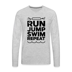 Run Jump Swim Repeat - black imprint - Men's Premium Long Sleeve T-Shirt