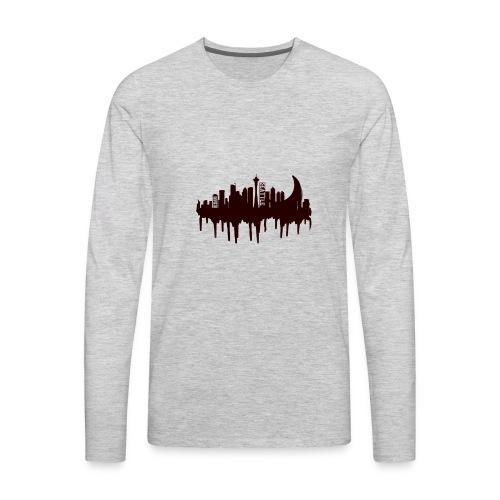 Seattle Moon and Skyline - Men's Premium Long Sleeve T-Shirt