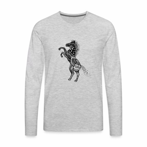 Rearing Horse Zentangle (abstract doodle) - Men's Premium Long Sleeve T-Shirt
