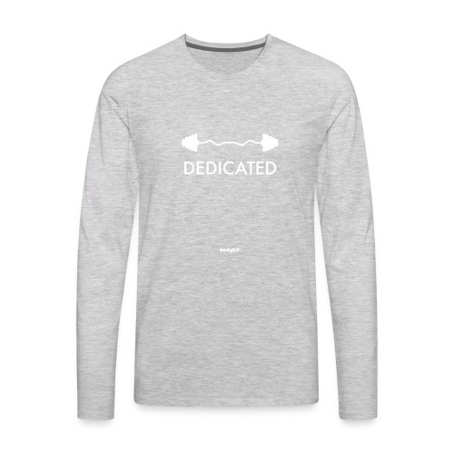 Dedicated Fitness Graphic Tee on Dark - Men's Premium Long Sleeve T-Shirt