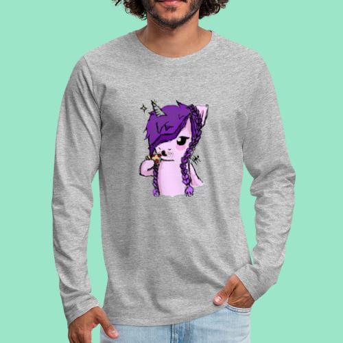 Unicorn Eating Pizza - Men's Premium Long Sleeve T-Shirt