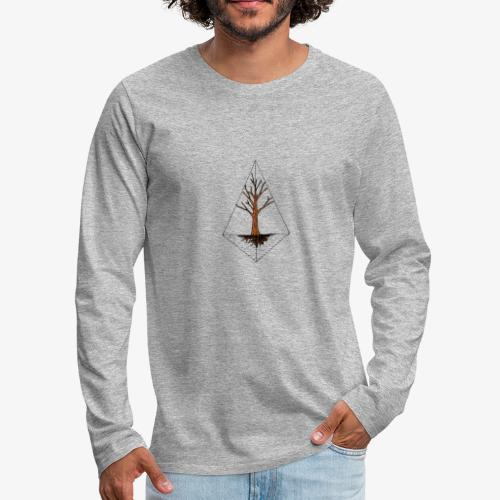 Hand drawn tree in a kite shaped outline - Men's Premium Long Sleeve T-Shirt