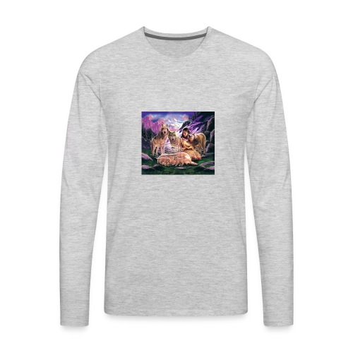 Wolfs with Indian - Men's Premium Long Sleeve T-Shirt