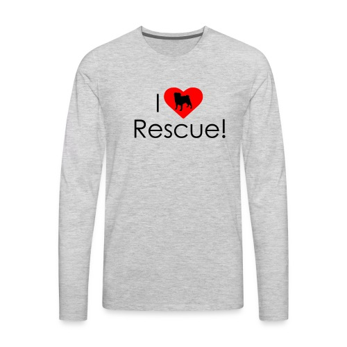 I Heart Rescue Pug - Men's Premium Long Sleeve T-Shirt