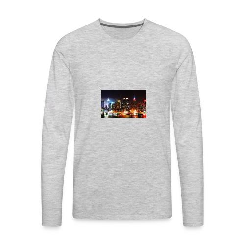 New York City Skyline at Night - Men's Premium Long Sleeve T-Shirt