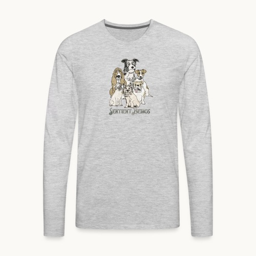 DOGS-SENTIENT BEINGS-white text-Carolyn Sandstrom - Men's Premium Long Sleeve T-Shirt