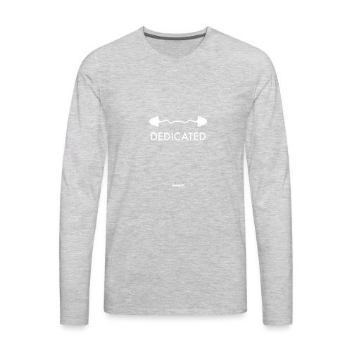 Dedicated Fitness Graphic Tee on Dark - Men's Premium Long Sleeve T-Shirt