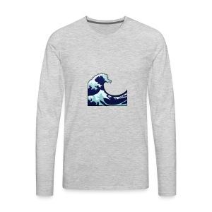 Wave Tsunami Logo - Men's Premium Long Sleeve T-Shirt