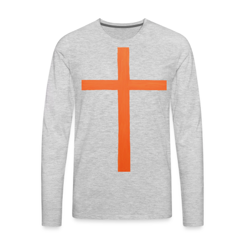 Orange Cross Jesus Rock Design AVE - Men's Premium Long Sleeve T-Shirt