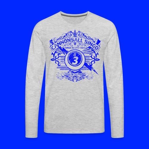 Vintage Cannonball Bingo Crest Blue - Men's Premium Long Sleeve T-Shirt