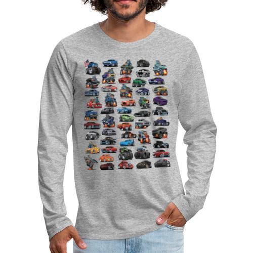 Muscle Cars, Hot Rods, Trucks and a Chopper - Men's Premium Long Sleeve T-Shirt