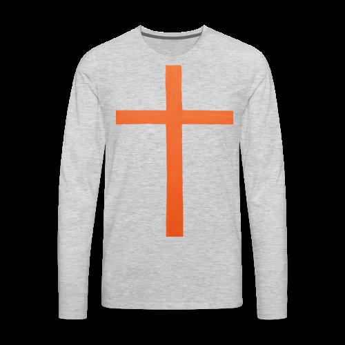 Orange Cross Jesus Rock Design AVE - Men's Premium Long Sleeve T-Shirt