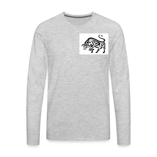 tribal cool running bull taurus tattoo design - Men's Premium Long Sleeve T-Shirt