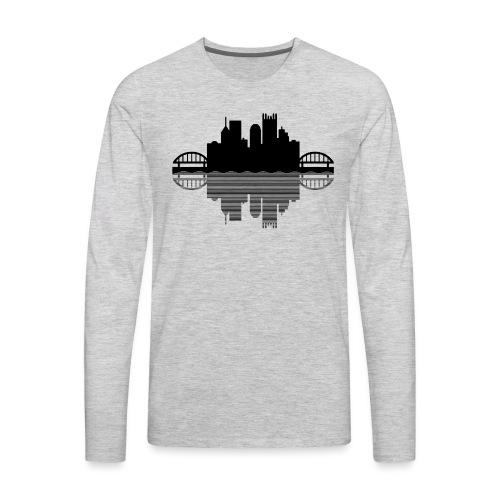 Pittsburgh Skyline Reflection (Black) - Men's Premium Long Sleeve T-Shirt