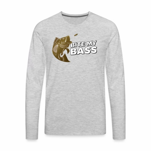 Bass Chasing a Lure with saying Bite My Bass - Men's Premium Long Sleeve T-Shirt