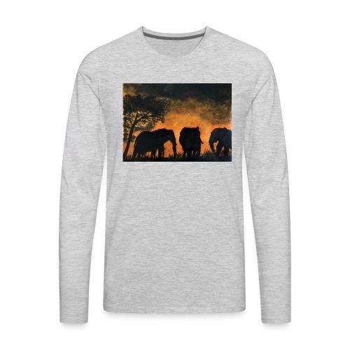 Elephants at sunset - Men's Premium Long Sleeve T-Shirt