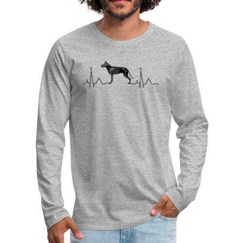 ECG with Dog - Men's Premium Long Sleeve T-Shirt