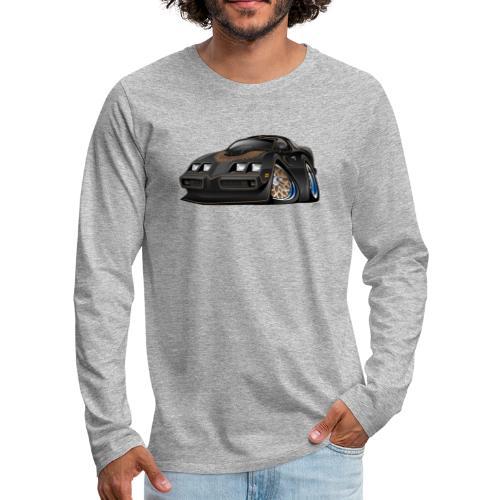 Classic American Black Muscle Car Cartoon - Men's Premium Long Sleeve T-Shirt