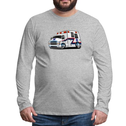 Paramedic EMT Ambulance Rescue Truck Cartoon - Men's Premium Long Sleeve T-Shirt